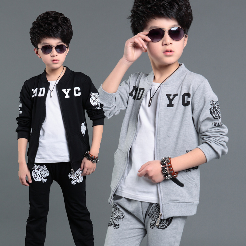 Boys Childrens New Spring Section Suits Korean Sports Hot Two Pieces Kids Clothing Sets Grey Black