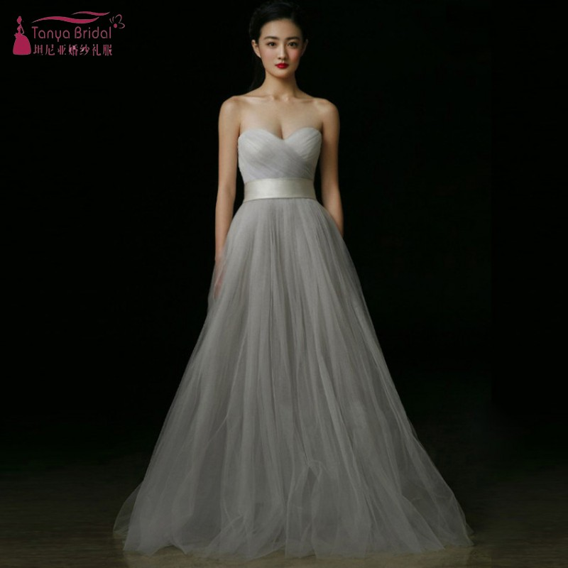 A Line Long Bridesmaid Dresses Long Gray Tulle Simple