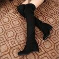 2016 mulheres outono inverno botas femininas botas flat sobre o joelho sapatos botas de senhora botas de neve quentes N38