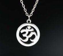 цена на Yoga OM Charms Alloy Pendants Necklaces Vintage Antique Silver Jewelry Gift New 1PCS