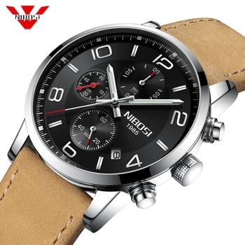 NIBOSI Casual Sport Watches for Men Top Brand Luxury Military Leather Wrist Watch Men Clock Fashion Chronograph Wristwatch 2019