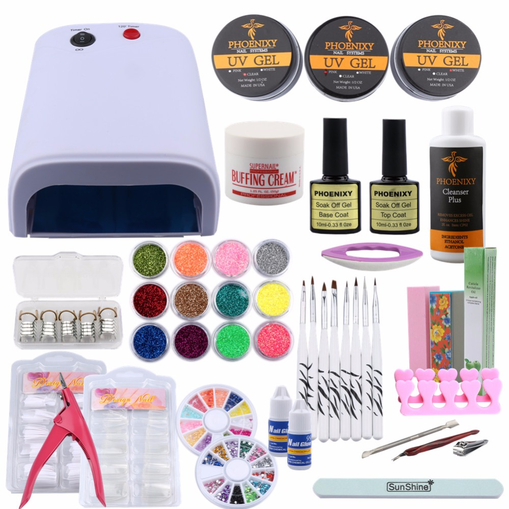 UV Gel Nail Art Kits 36W Nail Dryer Lamp Manicure UV Gel Polish Set French Tips UV Gel Brush Glitter Powder Nail Extension Set 12pcs set 1mm 2mm 3mm mix round shape nail glitter powder dust 3d diy nail art decorations nail art uv gel manicure tools