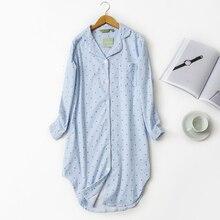 Autumn Stripe nightdress Polka Dot Sexy nightgown women sleepshirts 100 brushed cotton fresh simple Women Sleepwear
