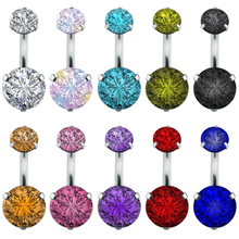Women Belly Button Rings Body Piercing Jewelry Double Round Crystal Navel Piercing Ring Stainless Steel Belly