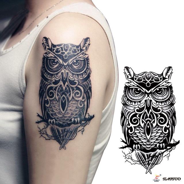 Transferência de tatuagens temporárias grande coruja preta falso braço tatuagem adesivos homens sexy hot mulheres spray de projetos à prova d' água