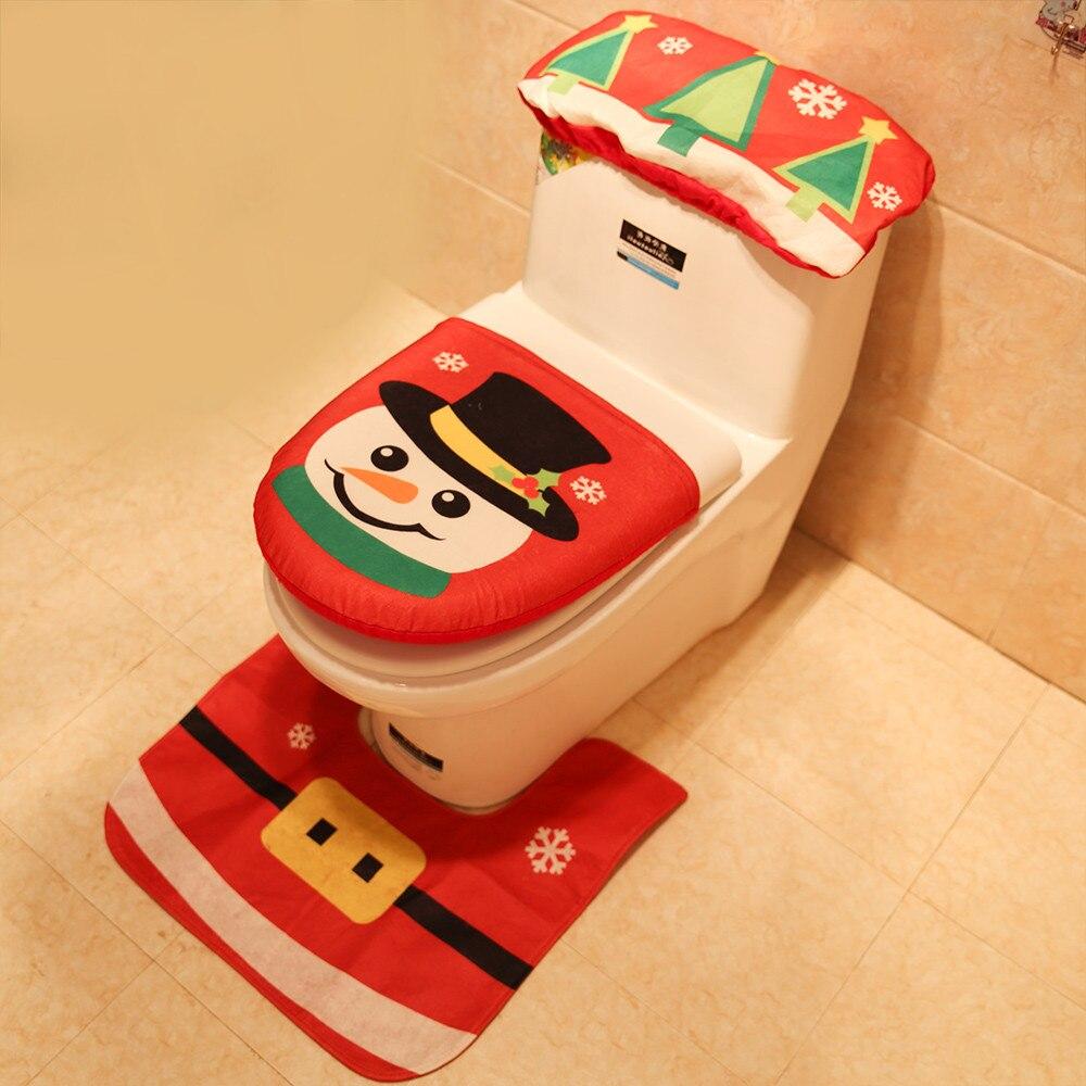 3 шт. рождественское сиденье для унитаза и чехол Санта Клаус коврик для ванной комнаты Рождественский милый Декор рождественские украшения для дома товары для дома - Цвет: Красный