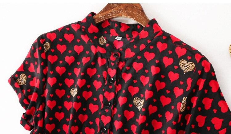 ผู้หญิง Mini 100% ผ้าไหม Crepe หัวใจสีแดงพิมพ์ชุดผู้หญิงผ้าไหมสั้น 2019 ฤดูร้อนใหม่ชุด-ใน ชุดเดรส จาก เสื้อผ้าสตรี บน   2