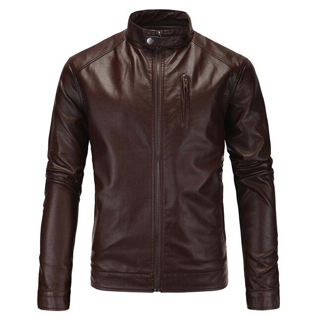 Men Leather Jacket New Arrival Fashion Standard Polyester Zipper Solid Erkek Deri Ceket 2017 New Men Washed Pu Leather Coat