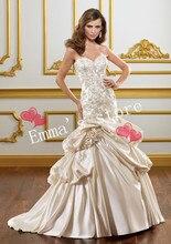 MORI-Free Shipping Custom Made 2013 Elegant Mermaid Sweetheart Floor Length Applique Champagne Summer Wedding Gowns Bridal Dress