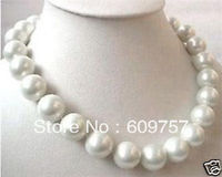 FREE SHIPPING>>>@@ Use Natural Pearl NECKLACES Natural 18 Mother 12mm South White Sea Shell Pearl Round Beads Necklace