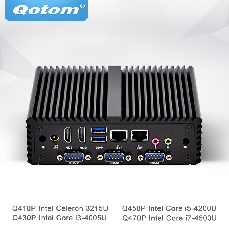 Qotom Mini PC Celeron Core i3 i5 i7 Desteği Linux Ubuntu Win Fansız Mikro Bilgisayar 2 Gigabit NIC Küçük Kutu PC Q400P-S08