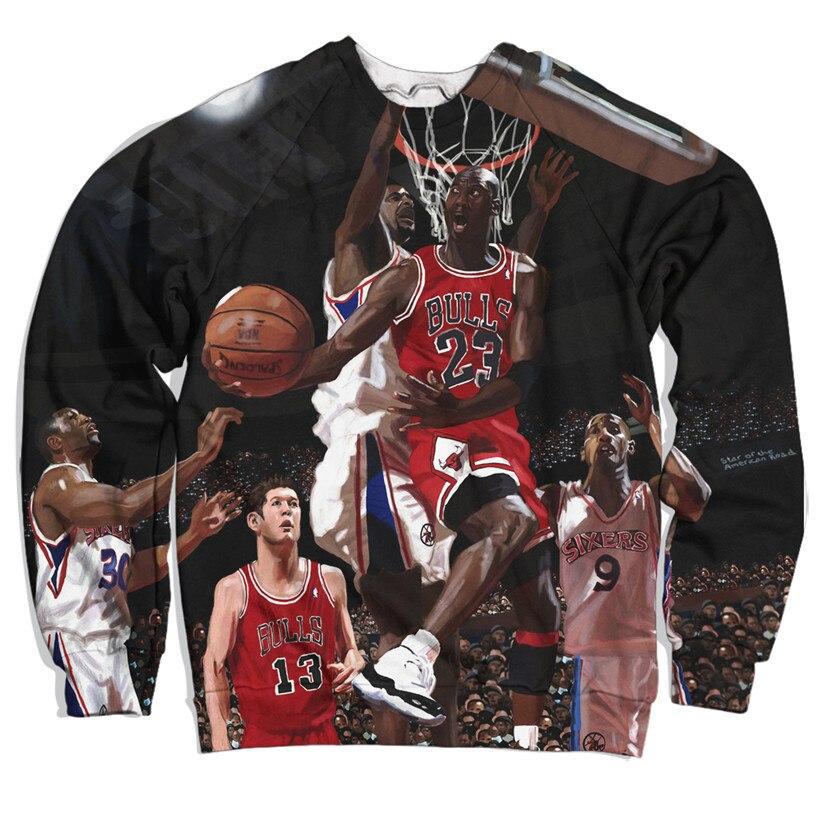 Real American size michael jordan jump 3D Sublimation Print crew neck sweatshirt plus size