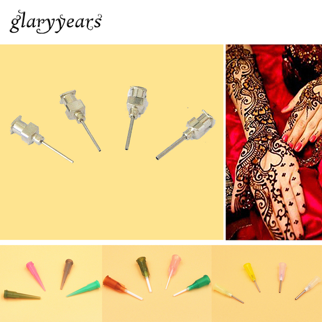4 Designs 1 Set Henna Plastic Bottle Nozzle Tips Nozzle Applicator Drawing for DIY Paste Body Art Paint Making Tool Needle Mouth