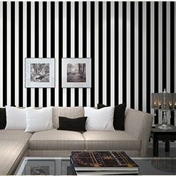 Buy stripe wall paper home decor background wall wallpaper roll modern for for Black and white striped wallpaper living room