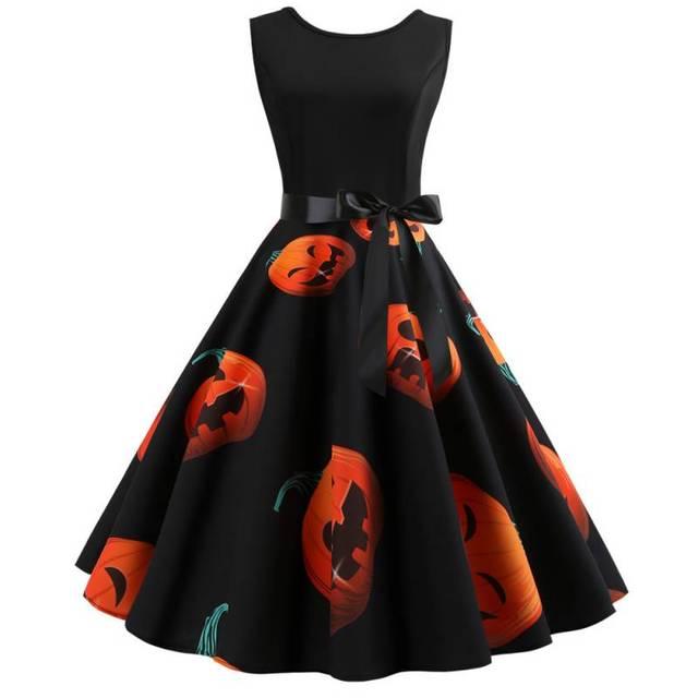 Women Christmas Halloween Funny Dresses Pumpkin Head Print Big Swing Sexy Dress Vintage Sleeveless A-Line Dress
