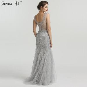 Image 2 - Grey Luxury Diamond Sequined High end Evening Dresses 2020 Elegant Mermaid Sleeveless Sexy Evening Gowns Serene Hill LA6587
