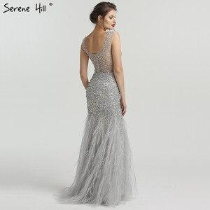 Image 2 - Gri lüks elmas payetli High end abiye 2020 zarif Mermaid kolsuz seksi abiye giyim Serene tepe LA6587