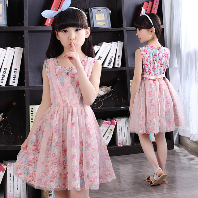 5835ec0cc Kids Dresses For Girls Children Clothing Floral Princess Party ...