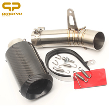 Motorcycle Exhaust Pipe Muffler Round Carbon Fibre 61 MM Full System Clamps Spring for BMW 1000RR Motobike