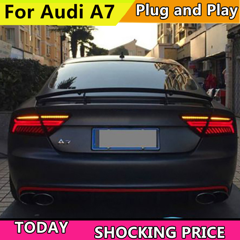 Car Styling For Audi A7 Tail Light Assembly 2011 2016 LED Tail Lights Rear Lamp moving turn signal light Taillight Accessories-in Car Light Assembly from Automobiles & Motorcycles