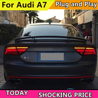 Car Styling For Audi A7 Tail Light Assembly 2011 2016 LED Tail Lights Rear Lamp moving turn signal light Taillight Accessories