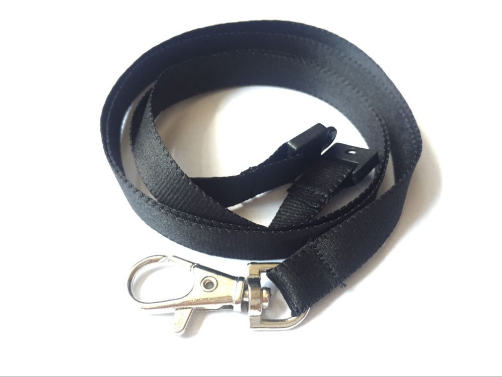 Free Shipping Black Color Plain Polyester Breakaway Neck Lanyard For ID Name Badge Holder Key Holder 1pcs