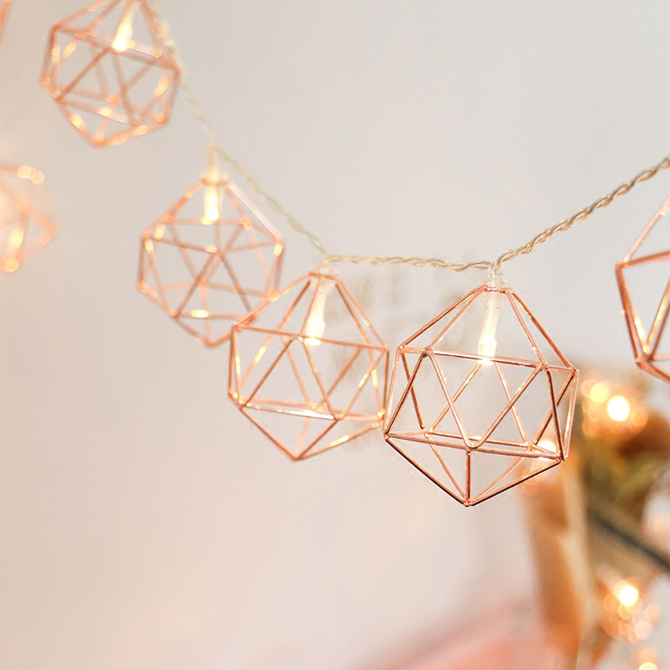 Вечерние Декор розовое золото Отделка шестигранной формы Батарея гладить фонари светодиодные строки, фестиваль декора, декоративное свето...