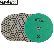 DT-DIATOOL 4pieces dry fine Diamond flexible Polishing Pads Resin Bond Sanding Disc Assorted Grits Wheel Dia 125MM/5