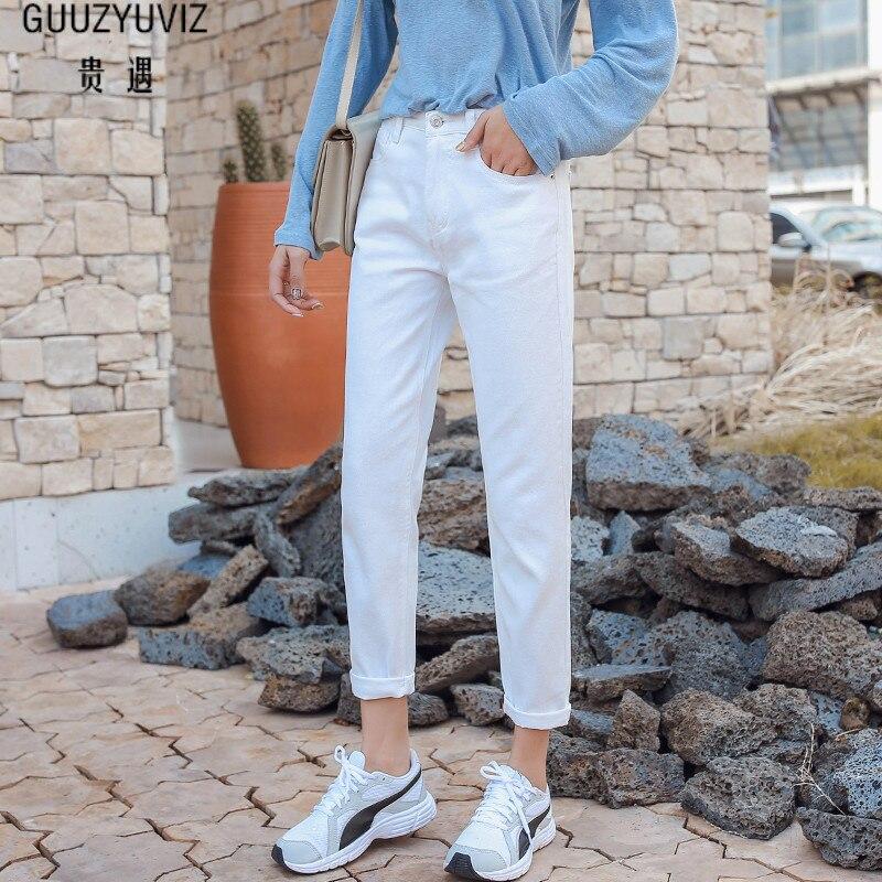 GUUZYUVIZ Jean Femme Taille Haute décontracté blanc Jeans femmes 2019 printemps basique petit ami Vintage Denim Femme Jeans