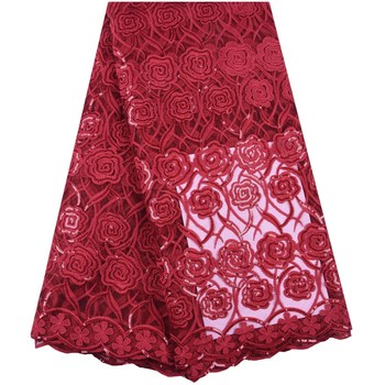 Red Milk Silk Lace Fabric Top Sale Sequined French Milk Silk Lace Fabric Latest African Lace Fabric For Dress Wedding F1627