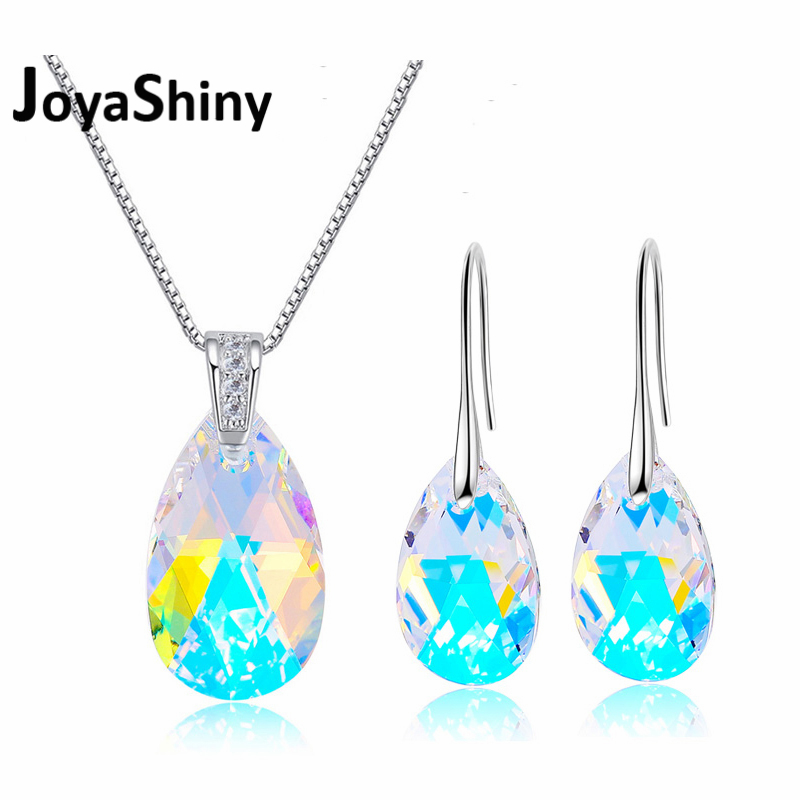 Joyashiny Water Drop Jewelry Set Crystal From Swarovski White Gold Color Pendant Necklace Dangle Earrings For Women Wedding недорого