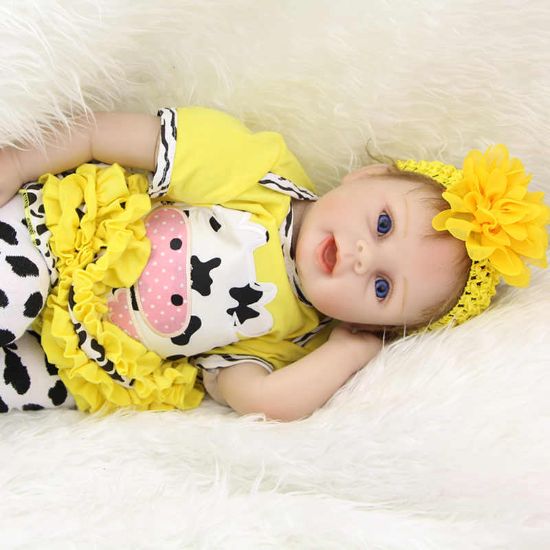 Stylish 22 Inches Real Lifelike Reborn Babies Cloth Body Newborn Princess Girl Dolls Children Birthday Xmas Gift