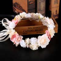 ACRDDK Boho Flower Girl Crown Headpiece Bohemia Floral Hair Wreath Headband Women Hairwear Wedding Bridal Hair Accessories SL