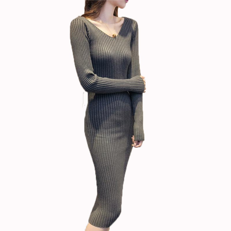 Lasted Autumn and Winter sexy long sleeve knitted women dress elegant slim solid V-neck casual sweater dress PW1016 2018 ladies women casual knitted dress sexy strap slip sleeveless v neck solid home bottoming straight sweater dress