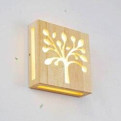 Nowoczesne drewno Led kinkiet kryty plac oświetlenie kinkiet lampa ozdobna salon lampka nocna do sypialni korytarz korytarz oświetlenie naścienne Led