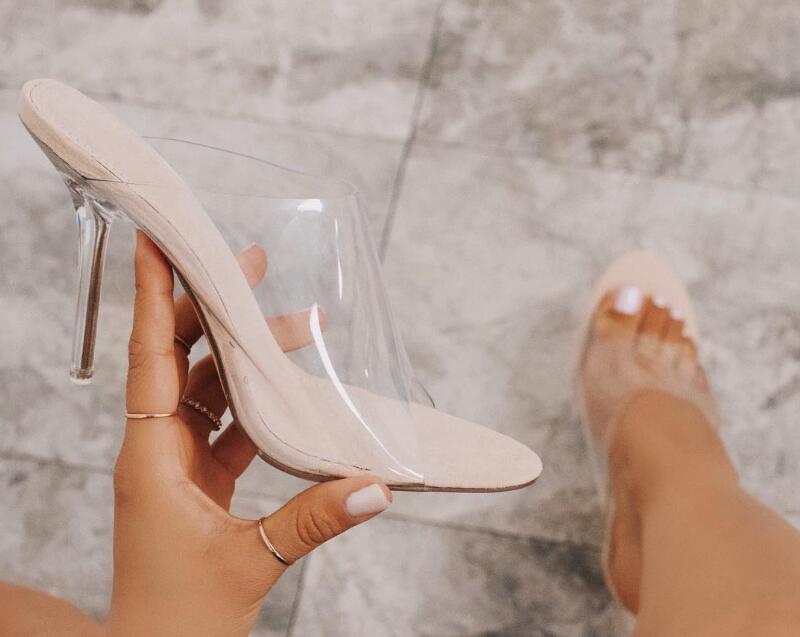 Moda Peep Toe Sandálias de Salto Alto Mulheres Limpar Transparente PVC Cristal Sandálias Deslizamento Em Sapatas de Vestido de Verão - 4