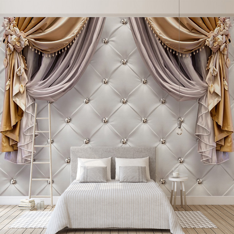 Custom Any Size 3D Wallpaper Modern European Curtains Soft Backgrounds Mural Living Room Sofa Bedroom Home Decor Wall Painting