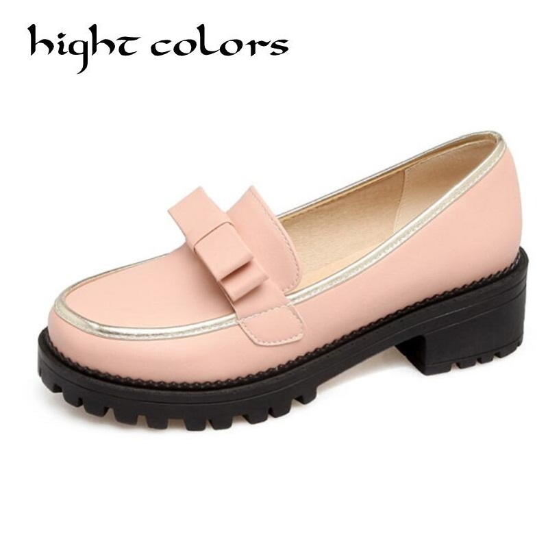 Big Size 34-43 Spring Autumn Slip On Flat Women Shoes Cute Bowtie Lace Shallow Mouth Ladies Platform Loafers Shoes Woman new arrival shallow mouth round toe women flat shoes sweet lady girls bowtie metal slip on shoes cute boat shoes plus size 35 41