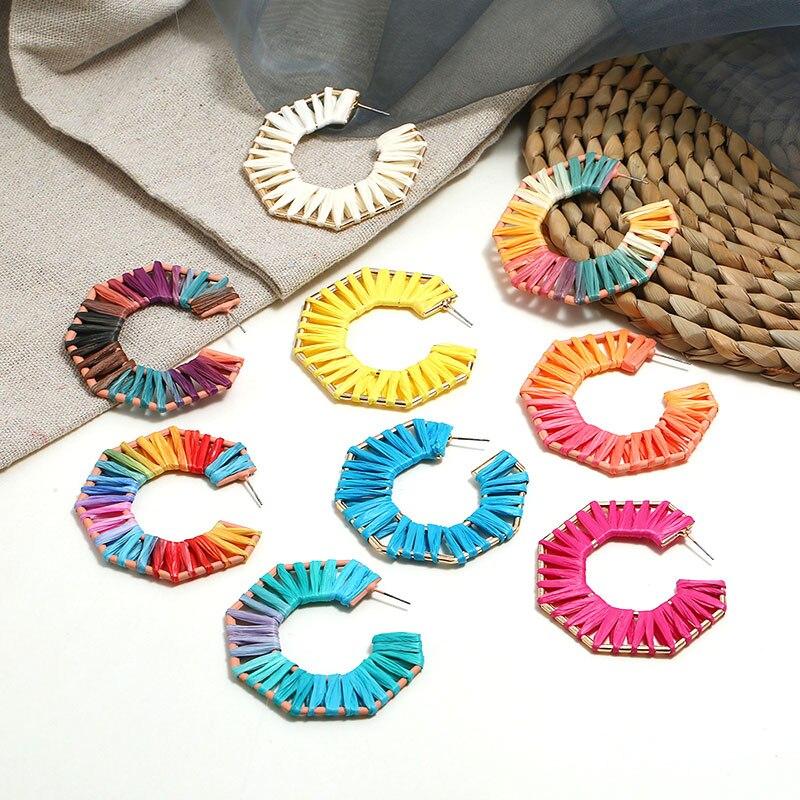 Boho Handmade Multicolor Raffia Statement Dangle Earrings for Women Girl Geometric polygon Rainbow Drop Earrings Fringed Jewelry in Drop Earrings from Jewelry Accessories