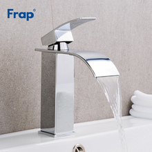 цена на Frap Chrome Basin Faucet Deck Mount Waterfall Bathroom Faucet Vanity Vessel Sinks Mixer Tap Cold And Hot Water Tap Y10148