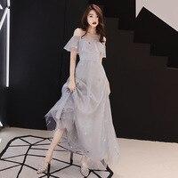 2019 New Ladies Elegant Slim Long Dress Stars Flowers Embroidery Sequin Decoration Women Dress Fairy Party Dress robe femme