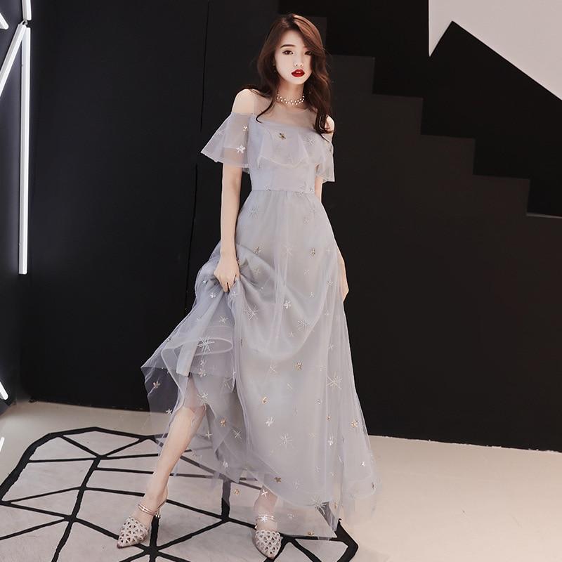 2019 Nouvelles Dames Élégant Mince conduites de carburant Étoiles Fleurs Broderie Sequin Décoration robe pour femme Fée tenue de fête robe femme