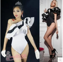 Jazz dance bosysuit Korean version of the women's sexy nightclub dj female singer collar dance bar ds performance sexy clothing