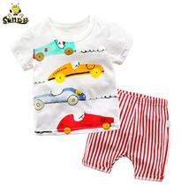 цена на Toddler boy summer clothes Cartoon Top + Shorts kids clothes Tracksuit girls clothing set Sport Suit Set 1 2 3 4 5 6 Years