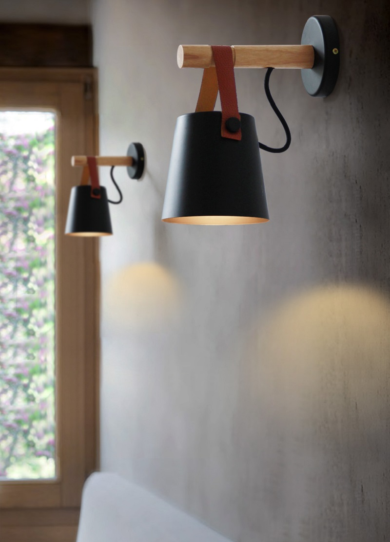 Nordic Led Wall Lamp Leather Living