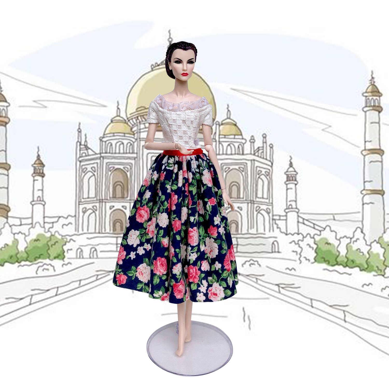 Besegad Elegante Mini Vestidos de Saia Vestido de Roupas de Boneca Menina Floral Outfits Ternos Trajes Acessórios para Barbie Brinquedo Estilo Aleatório