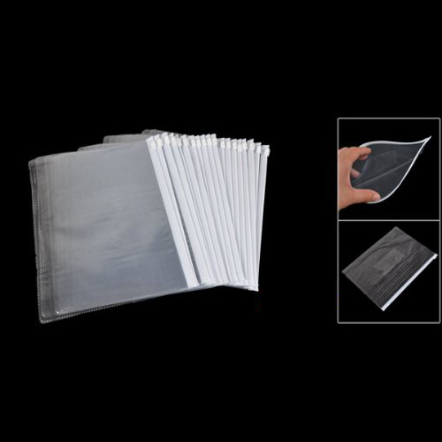 White Clear Size A5 Paper Slider Zip Closure Folders Files Bags 20 Pcs