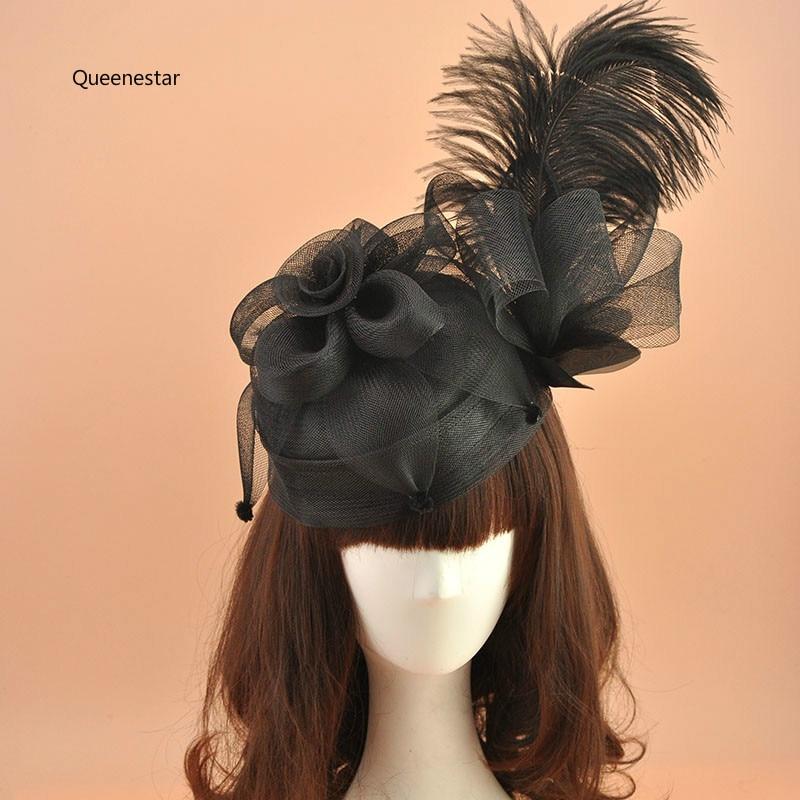 New European Black Hair Fascinator Clip For Women Fashion Feather Gauze Flower Hairpin Horse Race Wedding Party Girls Headdress