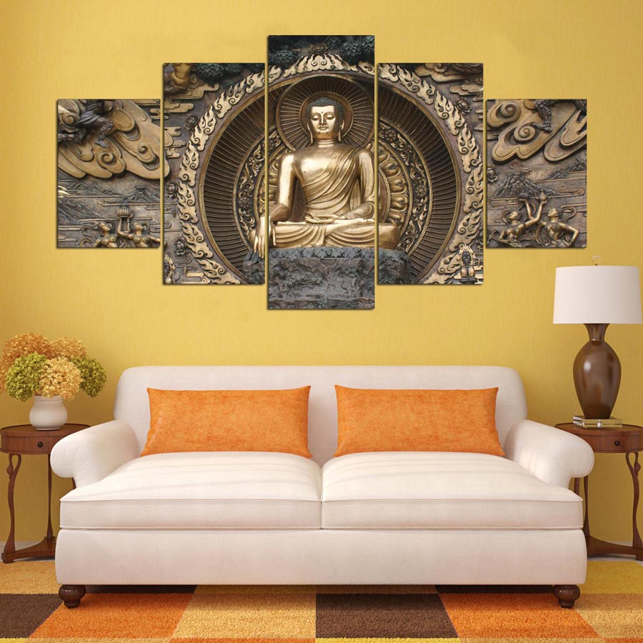 Modern Printing Type Poster Canvas Painting 5 Panel Buddha HD Print ...