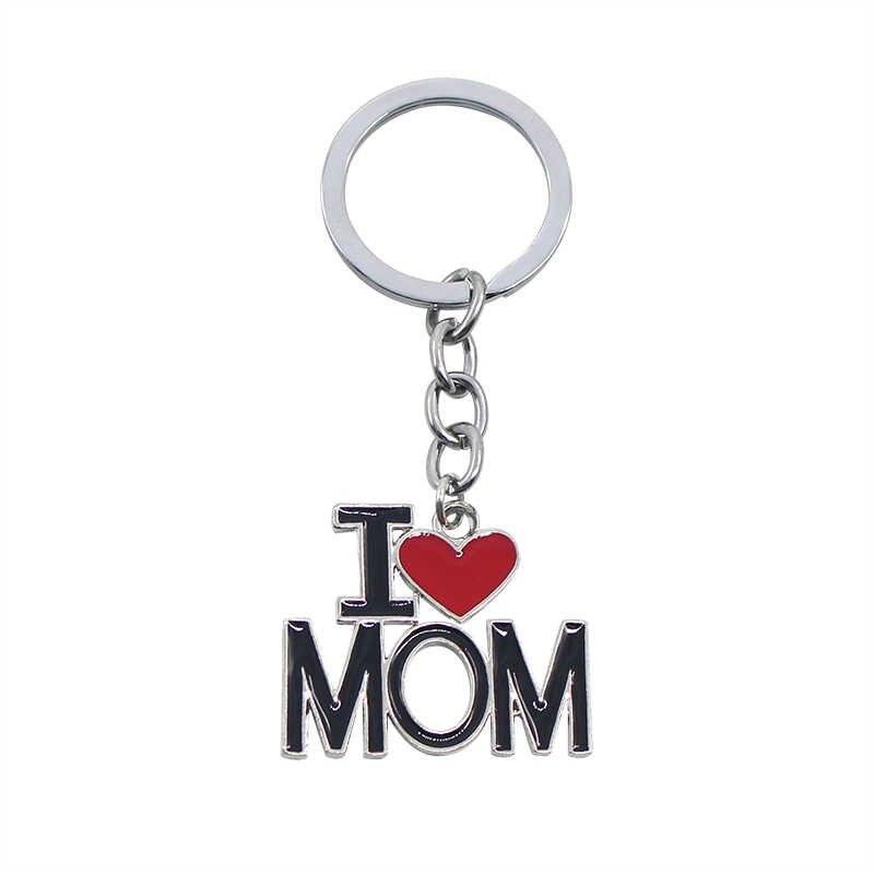 Mới Móc Chìa Khóa Chữ I Love PAPA MAMA BỐ MẸ Đỏ Trái Tim Chìa khóa Dây Xích Cho Ngày của Cha ngày của mẹ Tặng